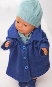 dollknittingpatterns 0131d hermeline-  mantel, rock, unterhose, pulli, haarband, mütze und socken-(deutsch)