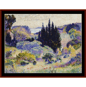 cypress, april - signac cross stitch pattern by cross stitch collectibles
