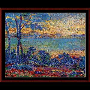 provence landscape - signac cross stitch pattern by cross stitch collectibles