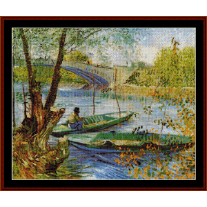Fishing in the Spring - Van Gogh cross stitch pattern by Cross Stitch Collectibles | Crafting | Cross-Stitch | Wall Hangings