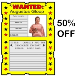 50% off charlie and the chocolate factory wanted posters set