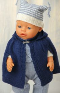 DollKnittingPatterns 0132D MARIA - Overall, Genser, Cape, sokker, Lue og Skjerf-(Norsk) | Crafting | Knitting | Baby and Child