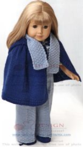 dollknittingpattern 0132d maria - pants, sweater, cape, socks, hat and scarf -(english)