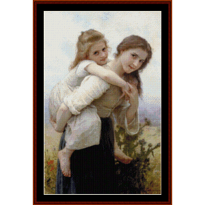 pleasant burden, 1895 - bouguereau cross stitch pattern by cross stitch collectibles
