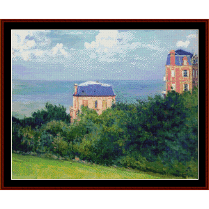 villas at villers su mer - caillebotte cross stitch pattern by cross stitch collectibles