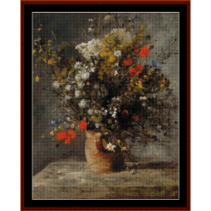 flowers in a vase ii - renoir cross stitch pattern by cross stitch collectibles