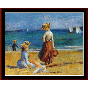 figures on the beach - renoir cross stitch pattern by cross stitch collectibles