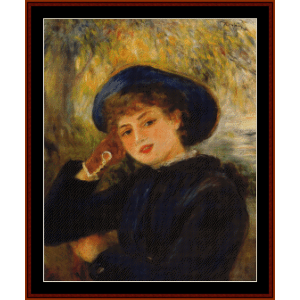 woman leaning on elbow, 1882 - renoir cross stitch pattern by cross stitch collectibles