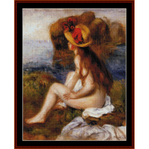 nude in straw hat - renoir cross stitch pattern by cross stitch collectibles