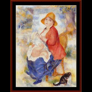 woman breast feeding - renoir cross stitch pattern by cross stitch collectibles
