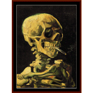 skull with burning cigarette - van gogh cross stitch pattern by cross stitch collectibles