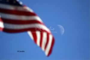 the moon and the american flag