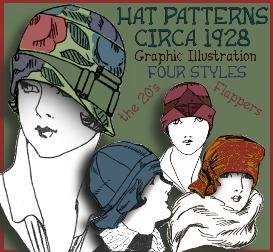"""Make a 1920's Hat ~Vintage PATTERNS for 4 STYLES ~""""the SHIRLEY Collection"""" 