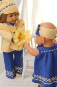 DollKnittingPatterns 0133D KLARA - Dress, Kjole, Hårbånd, Truse, Sko, Skyggelue og Jakke-(Norsk) | Crafting | Knitting | Baby and Child