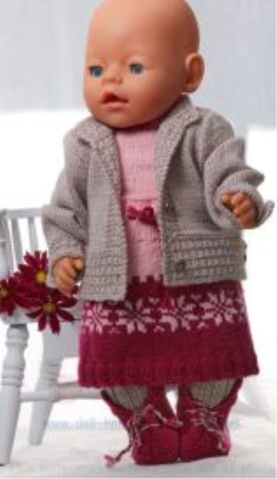 Second Additional product image for - DollKnittingPattern 0134D KAREN - Skirt, Pant, Jacket, Sweater, Hat and Shoes-(English)