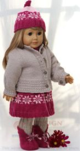 dollknittingpattern 0134d karen - skirt, pant, jacket, sweater, hat and shoes-(english)