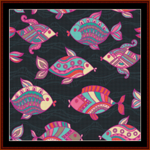 abstract fish i cross stitch pattern by cross stitch collectibles