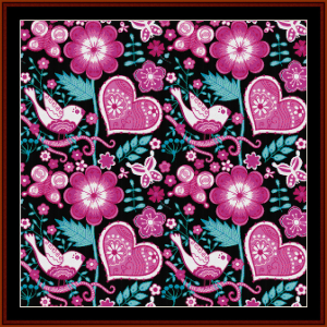 Abstract Floral Doves cross stitch pattern by Cross Stitch Collectibles | Crafting | Cross-Stitch | Wall Hangings