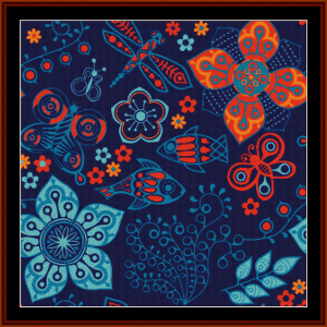 Abstract Floral Fish cross stitch pattern by Cross Stitch Collectibles | Crafting | Cross-Stitch | Other