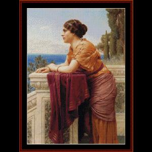 the belvedere, 1913 - godward cross stitch pattern by cross stitch collectibles