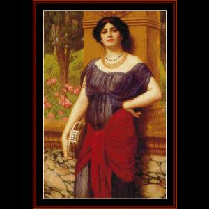 the tambourine player, 1909 - godward cross stitch pattern by cross stitch collectibles