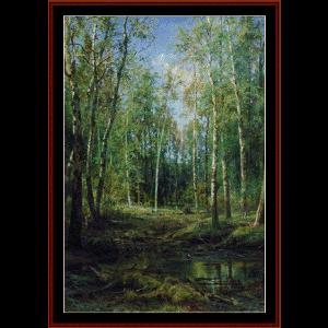 birch grove, 1875 - shishkin cross stitch pattern by cross stitch collectibles