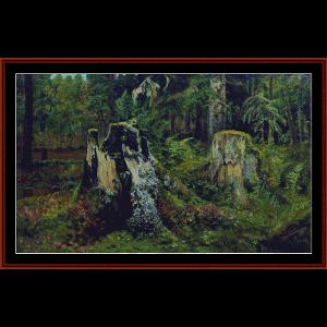 landscape with stump, 1892 - shishkin cross stitch pattern by cross stitch collectibles