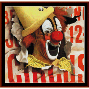 circus clown - vintage poster cross stitch pattern by cross stitch collectibles