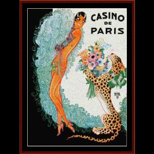 josephine baker, casino de paris - vintage poster cross stitch pattern by cross stitch collectibles