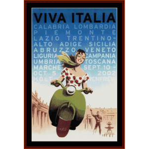 Viva Italia - Vintage Poster cross stitch pattern by Cross Stitch Collectibles | Crafting | Cross-Stitch | Wall Hangings