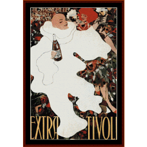 extra tivoli, 1896 - vintage poster cross stitch pattern by cross stitch collectibles