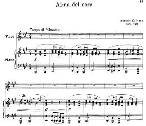alma del core, high voice in a major, a.caldara. for soprano, tenor. ed. schirmer, pd.
