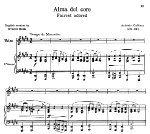 alma del core, a. caldara, low voice in e major, ed. schirmer (pd). 3pp