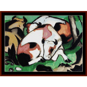 resting cows, 1911 - franz marc cross stitch pattern by cross stitch collectibles