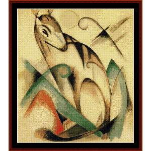 seated mythical animal - franz marc cross stitch pattern by cross stitch collectibles