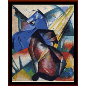 two horses, red and blue, 1912 - franz marc cross stich pattern by cross stitch collectibles