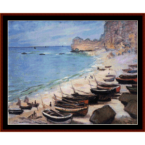 Boats on the Beach at Etretat - Monet cross stitch pattern by Cross Stitch Collectibles | Crafting | Cross-Stitch | Wall Hangings