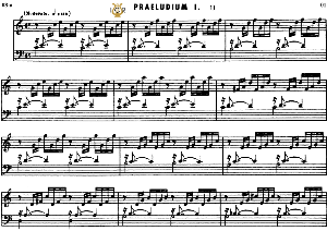prelude and fugue no 1 in c major bwv 846, j.s. bach, well tempered clavier i, ,bischoff urtext ed., schirmer. a5, tablet edition. 8pp.