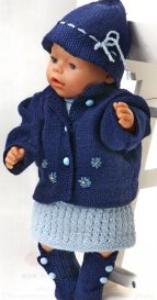 DollKnittingPatterns 0136D AURORA  Kleid, Unterhose, Jacke, Schuhe und Hut-(Deutsch) | Crafting | Knitting | Baby and Child