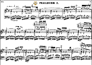 prelude and fugue no.10 in e minor bwv 855, j.s.bach, well tempered clavier i, bischoff urtext ed.schirmer, a5, tablet edition, 8pp
