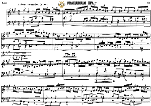 prelude and fugue no.14 in f-sharp minor bwv 883, j.s.bach, well tempered clavier ii, bischoff urtext ed.schirmer, a5, tablet edition, 7pp