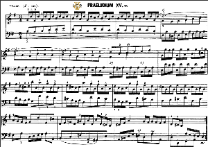 prelude and fugue no.15 in g major bwv 884, j.s.bach, well tempered clavier ii, bischoff urtext ed.schirmer, a5, tablet edition, 8pp