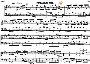 prelude and fugue no.23 in b major bwv 892,  j.s.bach, well tempered clavier ii, bischoff urtext ed.schirmer, a5, tablet edition, 10pp