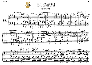 piano sonata no.19, op.49 no.1 in g minor, l.v.beethoven, kohler-ruthardt rev.,ed.c.f.peters (1880), a5,tablet edition, 10pp