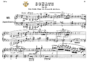 piano sonata no.23, op.57 in f minor, «appassionata», l.v.beethoven, kohler-ruthardt rev.,ed.c.f.peters (1880), a5,tablet edition, 38pp