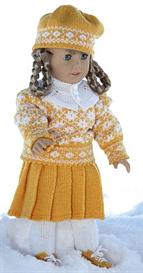 dollknittingpattern - 0019d kirsten februray - sweater, skirt, hat, tights and collar