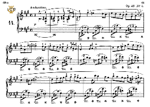 Nocturne No.14, Op.48 No.2 in F-Sharp minor, F.Chopin, Scholtz, Ed.C.F.Peters (1904), A5, Tablet Edition (Landscape), 11pp_ | eBooks | Sheet Music