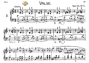 waltz no.3, op. 34 no 2 in a minor, f.chopin, scholtz, ed.c.f.peters (1904), a5, tablet edition (landscape), 10pp