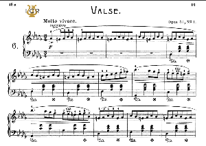 waltz no.6, op.64 no.1 in d-flat major, f.chopin, scholtz, ed.c.f.peters (1904), a5, tablet edition (landscape), 8pp