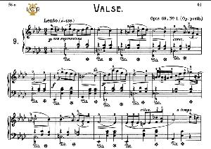 waltz no.9, op.69 no.1 in a-flat major, f.chopin, scholtz, ed.c.f.peters (1904), a5, tablet edition (landscape), 8pp